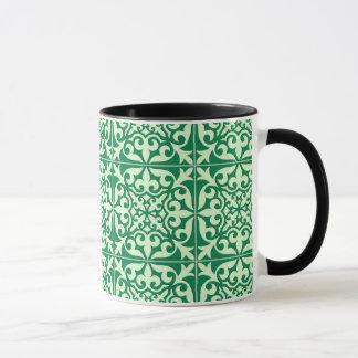 Marokkanische Fliese - Smaragd- und hellgrüne Tasse