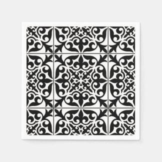 Marokkanische Fliese - Weiß mit schwarzem Serviette