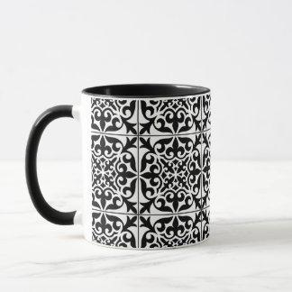 Marokkanische Fliese - Weiß mit schwarzem Tasse