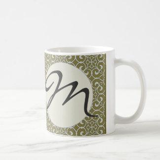 Marokkanische Rolle-verziertes Designer-Monogramm Kaffeetasse