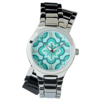 Marokkanisches Fliesen-Muster, Aqua und Türkis Armbanduhr
