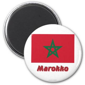 Marokko Flagge MIT Namen Runder Magnet 5,1 Cm