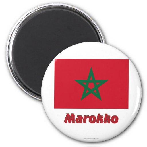 Marokko Flagge MIT Namen Kühlschrankmagnet