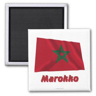 Marokko Fliegende Flagge MIT Namen Quadratischer Magnet