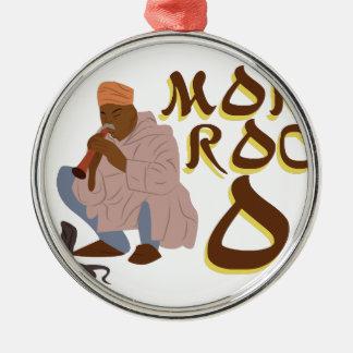 Marokko-Schlangenbeschwörer Rundes Silberfarbenes Ornament