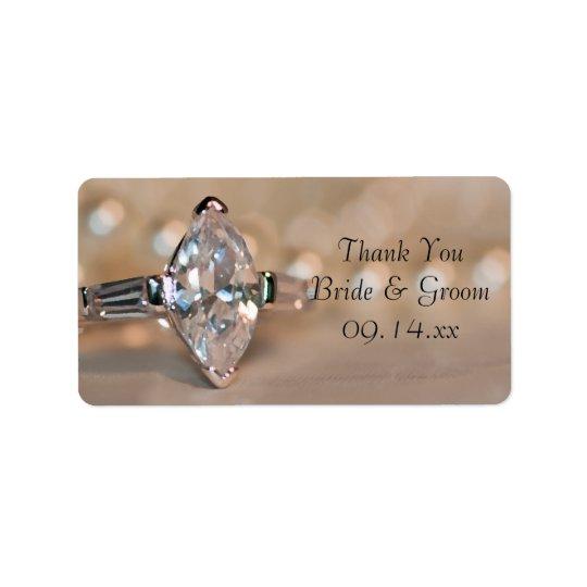 Marquis-Diamant-Ring-Hochzeit danken Ihnen, Umbau Adressaufkleber