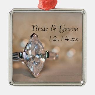 Marquis-Diamant-Verlobungs-Ring-Hochzeit Silbernes Ornament
