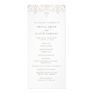 Marrakesch-Hochzeits-Programm   LeinenGreige Werbekarte