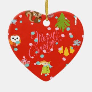 Marry Christmas pattern Netz Keramik Herz-Ornament