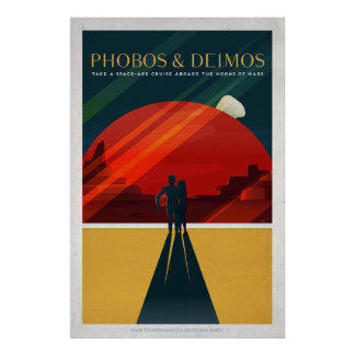 Mars-Monde Phobos und Deimos Retro Raum-Tourismus Poster