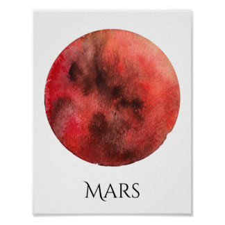 Mars-Planetwatercolor-Plakat Poster