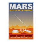Mars-Retro Raumfahrt-Illustration Poster