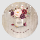 Marsala Blumen-Maurer-Glas-rustikale Hochzeit Runder Aufkleber