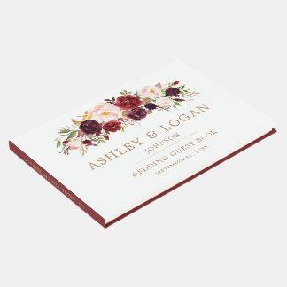 Marsala Burgunder Blumenherbst-Hochzeits-Gast-Buch Gästebuch