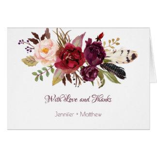 Marsala, Burgunder, Rot, weiße Rosen Boho danken Karte