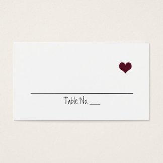 Marsala Herz, das Placecards Wedding ist Visitenkarte