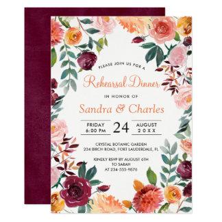 Marsala rosa botanische Proben-Abendessen-Karte Karte