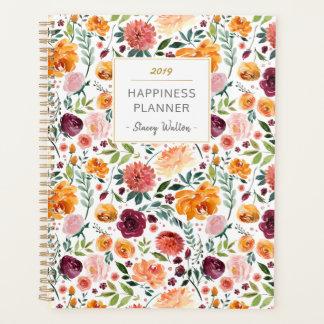Marsala rosa botanischer Blumen-Glück-Planer Planer