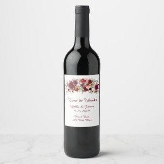 Marsala rote BlumenBoho Hochzeits-Wein-Aufkleber Weinetikett