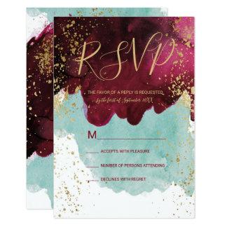 Marsala rotes aquamarines Watercolor-Goldspritzen Karte