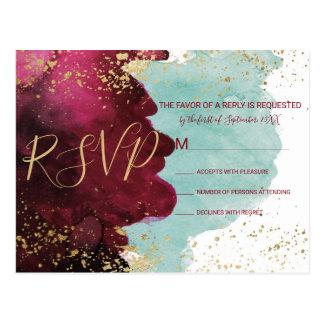 Marsala rotes aquamarines Watercolor-Goldspritzen Postkarte