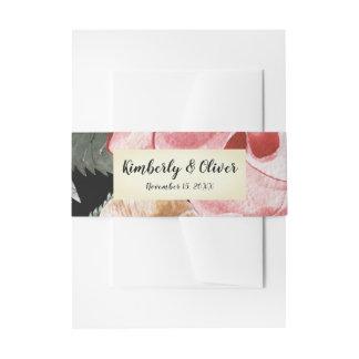 Marsala schwarze Blumenhochzeits-Einladung Einladungsbanderole