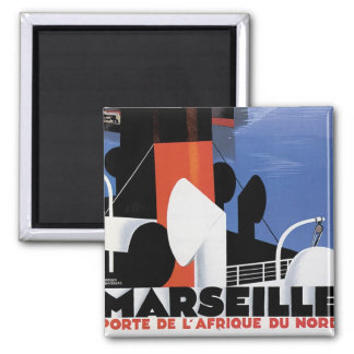 Marseille-Plakat Quadratischer Magnet