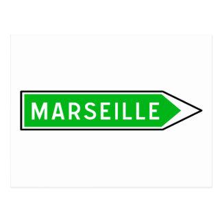Marseille, Verkehrsschild, Frankreich Postkarte
