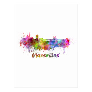 Marseilles skyline im Watercolor Postkarte