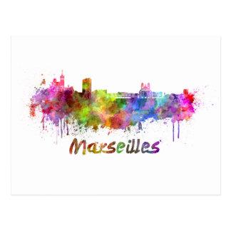 Marseilles skyline im Watercolor Postkarte