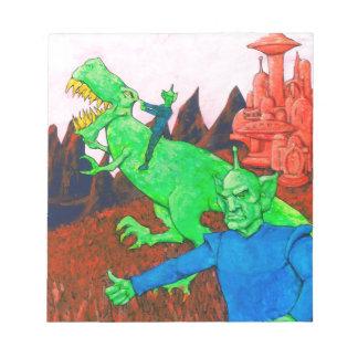 Marsmenschen und T-Rex Notizblock