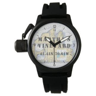 Martha's Vineyard-Breite-Länge-Kreissäge Uhr