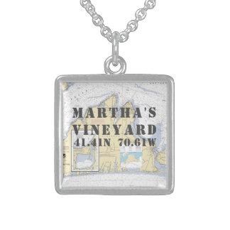 Martha's Vineyard-Breite-Länge nautisch Sterling Silberkette