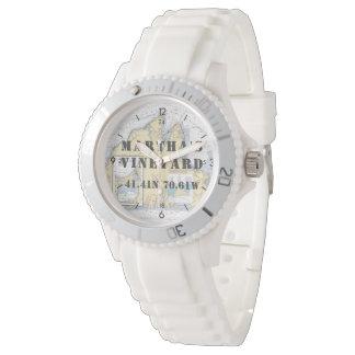 Martha's Vineyard-Breite-Länge nautisch Uhr