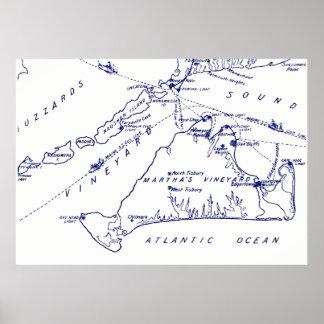 Martha's Vineyard Vintages Marine-Blau Karten-#1 Poster