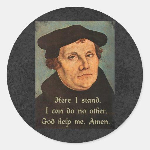 Martin Luther - hier stehe ich Zitat Runder Sticker