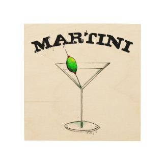 Martini-Cocktail-Glas-Bar-Küchen-Mischgetränk Holzwanddeko