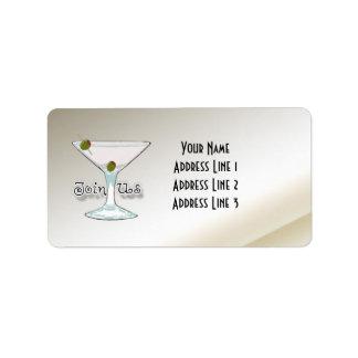 Martini-Cocktail-Party Adressaufkleber