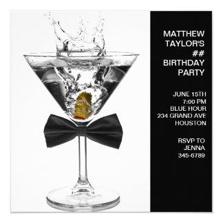 Martini-Glas bemannt jedes mögliches Quadratische 13,3 Cm Einladungskarte