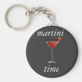 Martini-Zeit keychain Standard Runder Schlüsselanhänger