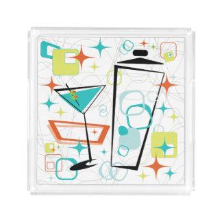 Martinis ein Gehen-Gehen kleiner quadratischer Acryl Tablett
