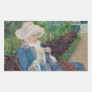 Mary Cassat- Lydia, der im Garten häkelt Rechteckiger Aufkleber