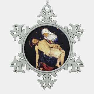 Mary, die Jesus hält Schneeflocken Zinn-Ornament