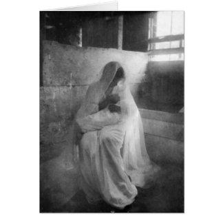 Mary, die Jesus in der stabilen Gruß-Karte hält Grußkarte