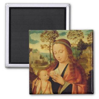 Mary mit dem Christus-Kind, Anfang des 16. Jahrhun Quadratischer Magnet
