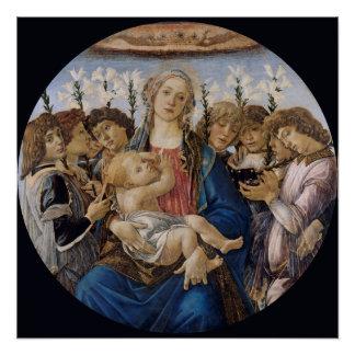 Mary mit Kind und Gesang-Engel durch Botticelli Poster