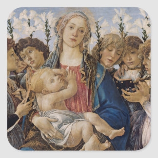 Mary mit Kind und Gesang-Engel durch Botticelli Quadratischer Aufkleber