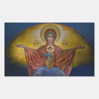Mary, Mutter von Jesus, Theotokos Rechteckiger Aufkleber