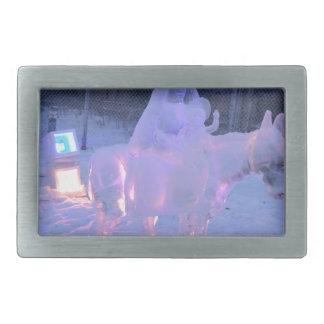 Mary-und Baby-Jesus-Nachtschnee-Winter-Skulptur Rechteckige Gürtelschnalle