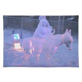 Mary-und Baby-Jesus-Nachtschnee-Winter-Skulptur Stofftischset